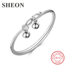 SHEON High Quality Authentic 925 Sterling Silver Fashion Bell Women Round Open Bangle & Bracelet Luxury Jewelry