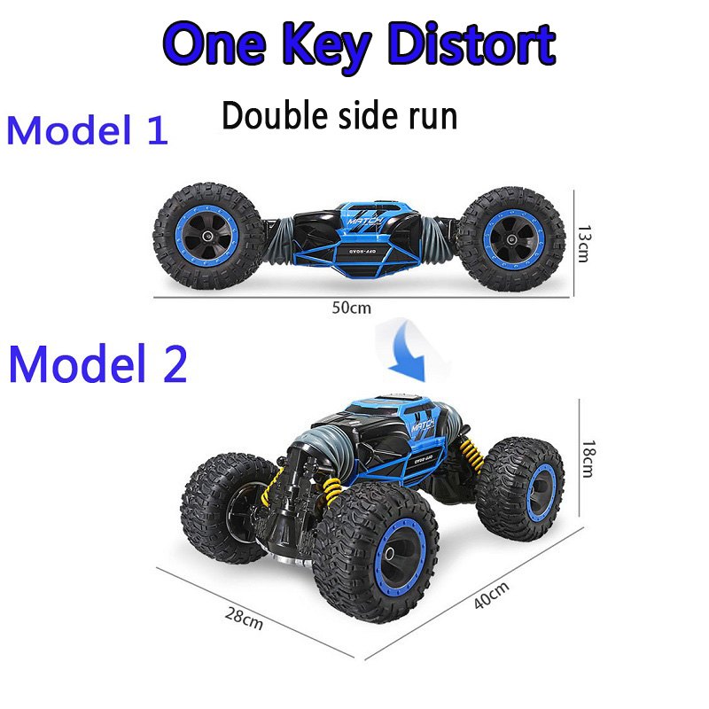 все цены на 2.4GHz 1:16 Double-sided RC Off-Road Vehicle Car Toy One Key Transform All-terrain Varanid Climbing 4WD Truck Remote Control Toy онлайн