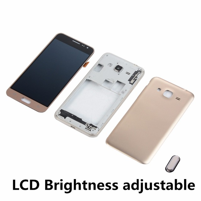 For Samsung J3 2016 J320 J320FN LCD Display Touch Screen Digitizer+Housing Middle Frame Cover+Battery Back Cover