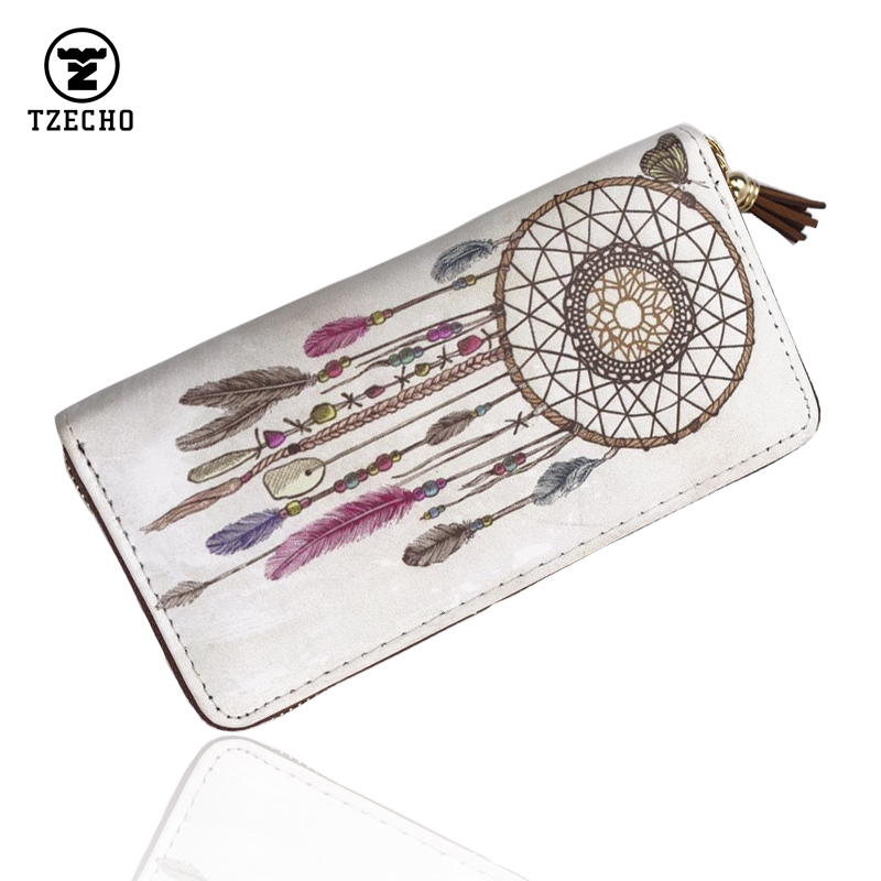 TZECHO Zipper Around Womens Wallets PU Print Dream Catcher Long Femal Purses Coin Pocket Ladies Credit Card Holder Clutch Bag