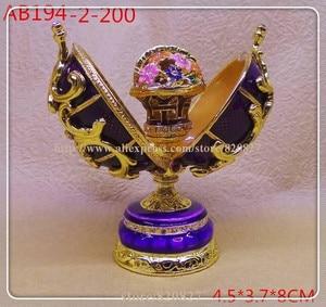 Image 1 - easter egg faberge trinket box egg jewelry box storage box handmade vintage egg shape metal jewelry gift box