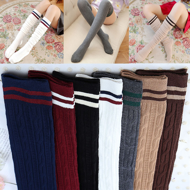 Fashion College Wind Women Hot Thigh High Socks Sexy Warm Cotton Over The Knee Socks Striped Long Stockings For Girls Wholesale