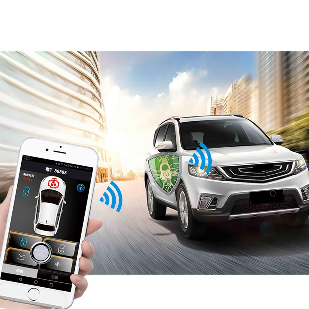 Smartphone car alarm system compatible with  phone car engine start stop system remote Smart key PKE car(China)