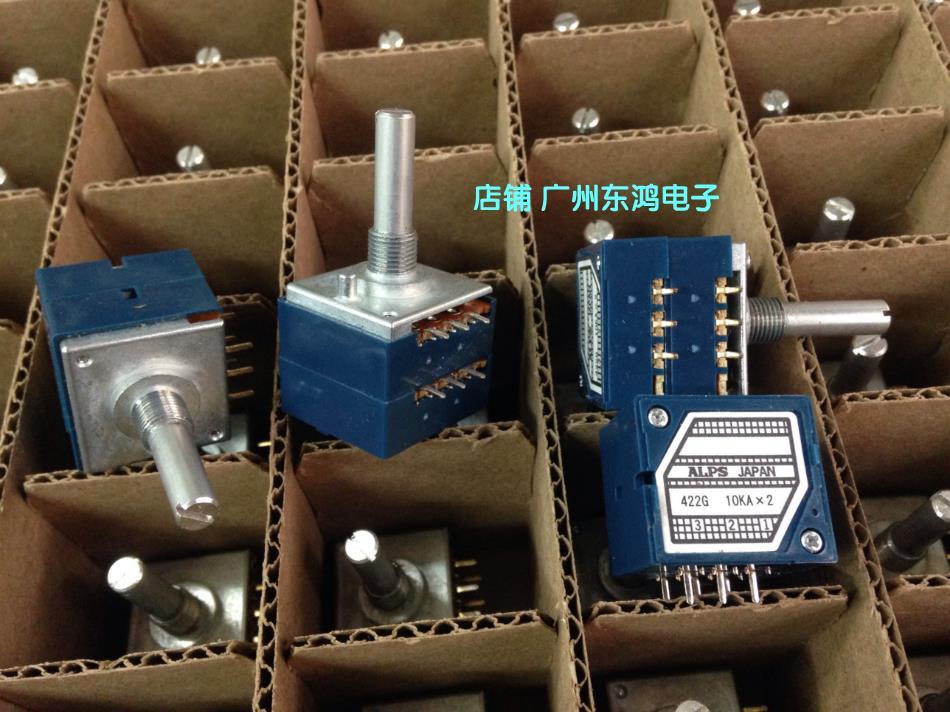 2PCS/LOT Genuine Japanese ALPS fever class double potentiometer, RK27 type A10K*2 volume potentiometer, 25MM round handle spanish two tone double potentiometer 10k 50k