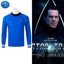 MANLUYUNXIAO 2017 Men's Spock Costume New Star Trek Costume Blue Top T Shirt Cosplay Costume Halloween Cosplay For Men Hot Sale