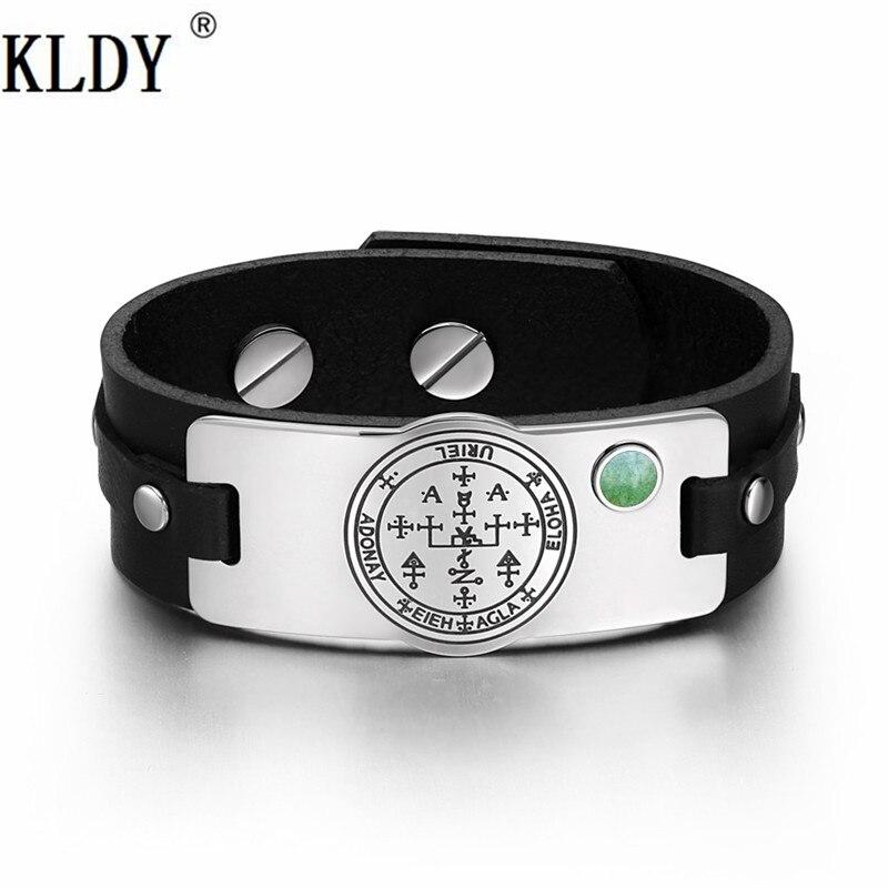 KLDY Green Quartz Gem stone Adjustable Brown Black men Leather Bracelet Money and Good Luck powers Amulet Bracelets factory sale цена 2017