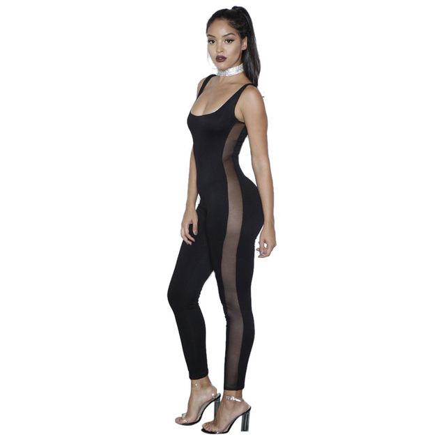 b667b6de2e Women Sporting Romper Fitness Outfit Backless Overalls Bodysuit Sheer Mesh  Catsuit Long Pants Jumpsuit 2017 Active