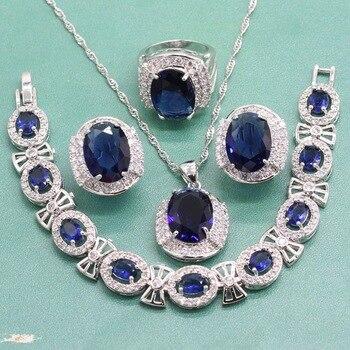 Juego de joyería de boda de Zirconia cúbica de plata 925 para mujeres pendientes de compromiso azul conjuntos de anillo pulsera collar caja de joyería gratis