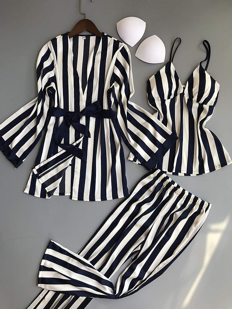 Women   Pajamas     Sets   3 Pieces Fashion Spaghetti Strap Tops Satin Sleepwear Female Stripes Long Sleeve Summer Home Clothing Pijama