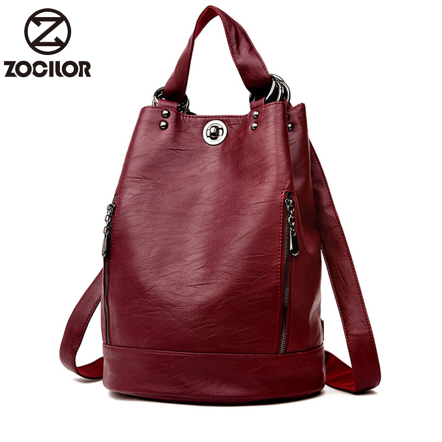 2019 Female Backpack Mochila Feminina Casual Multifunction Women Leather Backpack Female Shoulder Bag Sac A Dos Travel Back Pack