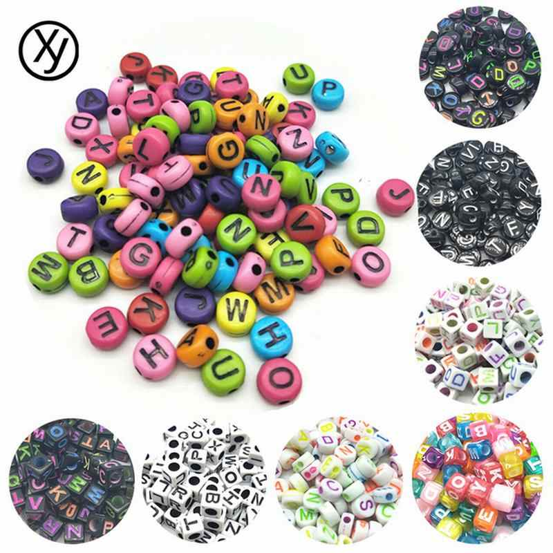 Beads DIY 100pcs/lot 7mm Colorful Necklace Beads Handmade Round Square Colorful Alphabet/Letter Acrylic for Bracelet Random