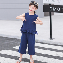 2019 Summer Girls Clothing Sets Toddler Teenage Clothes Set Cotton Children Kids Sleeveless Vest Tops+Pants 2 Piece Suit 5t-12t shein toddler frill top with ruffle striped pants set casual child teenage girls clothing 2019 korean fashion suit kids clothes