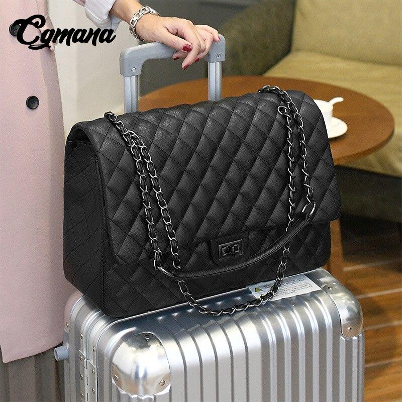 CGmana sac grande capacité 2018 grand sac à bandoulière femmes sacs de voyage en cuir Pu sac matelassé femme sacs à main de luxe Bolsa Feminina