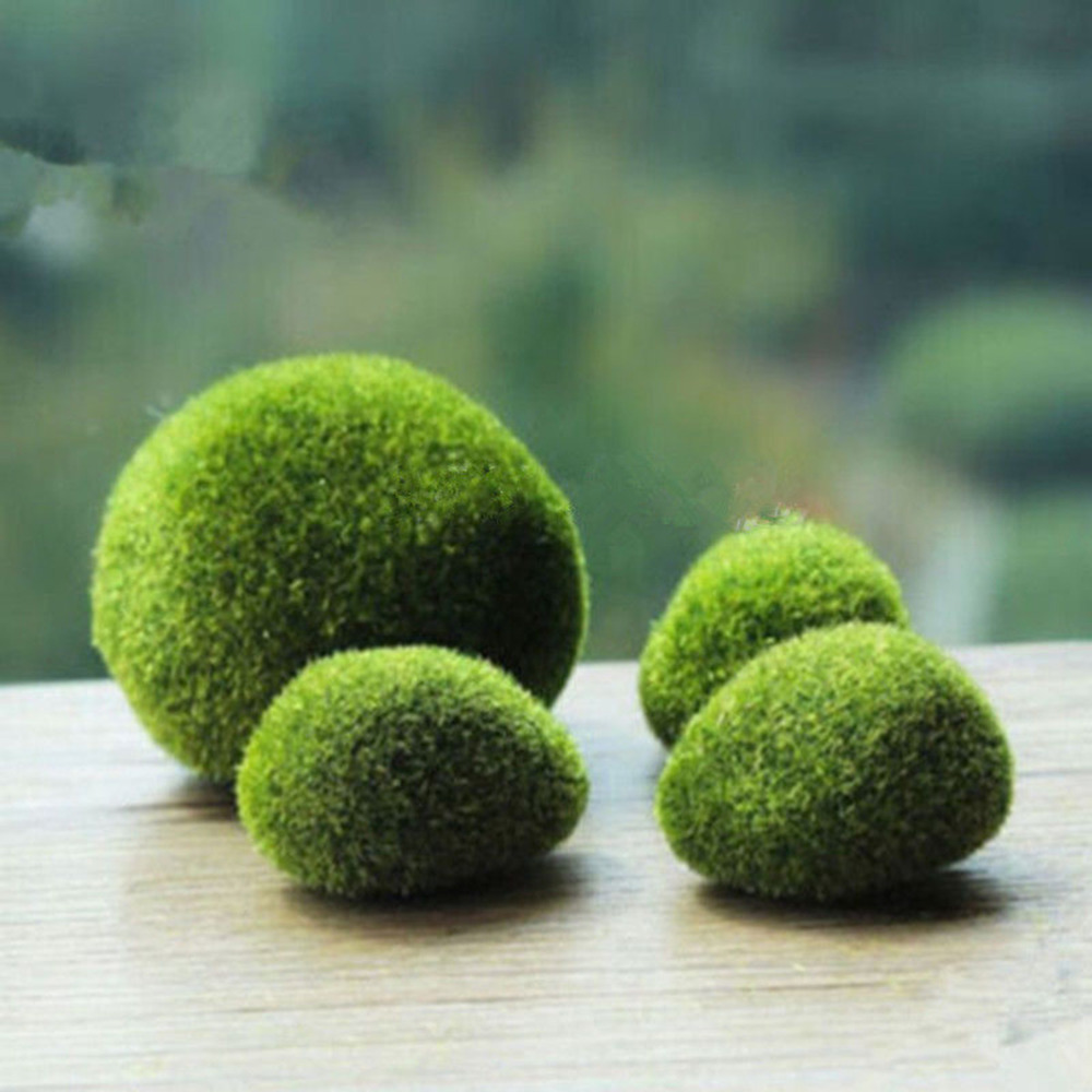 4pcs Artificial Green Moss Ball Fake Stone Simulation Plant Diy Decoration For Shop Window Hotel Home Office Plant Wall Decor 29