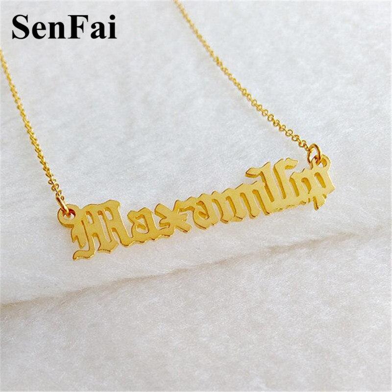 0066e13c0949 Collar con nombre Senfai para mujer, hombre, personalizable, collar con  dijes iniales, Gargantilla, ...
