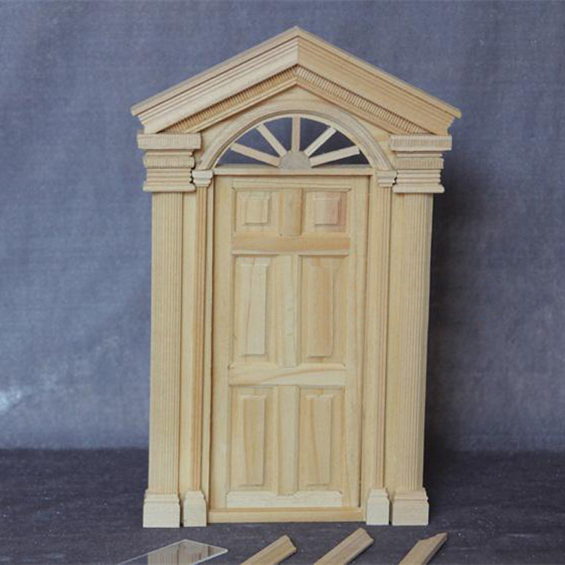 Us 19 76 5 Off Diy Doll House Furniture Accessories 1 12 Scale Dollhouse Miniature Wooden Exterior Door Models Toys In Furniture Toys From Toys