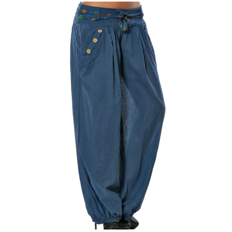 LAAMEI Causal Women Wide Leg Pants 2018 Drawstring Button Pockets Loose Low Waist Trousers Beach Pants Big Size Pantalon Femme