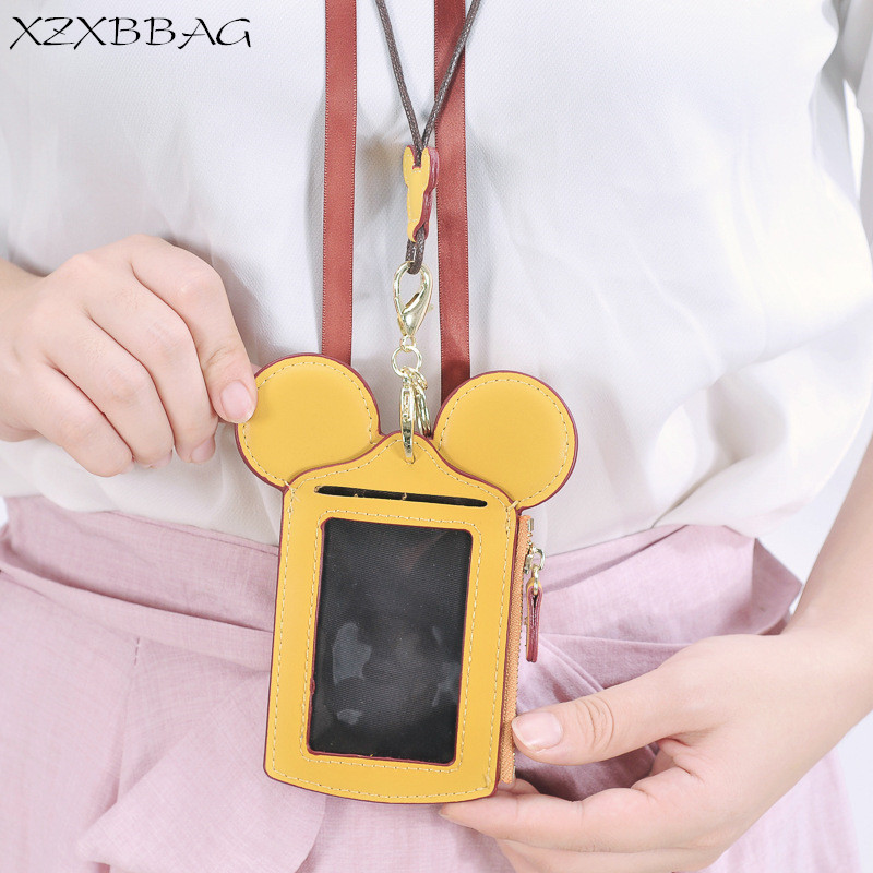 XZXBBAG PU Leather Cute Cat Big Ears Card Bag Women Multifunction Key Wallet Coin Purse Female Cardholder Cell Phone Pocket