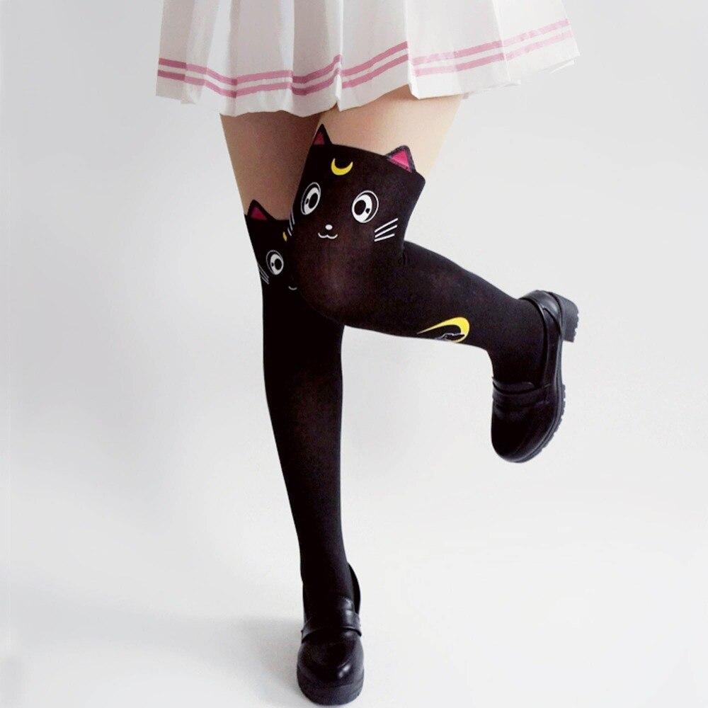d06f0f5e7a17e6 € 3.38 19% de réduction|VEVEFHUANG chaud Anime marin lune Cosplay Costume  femmes Luna chat chaussettes collants soie collants Leggings bas noir et ...