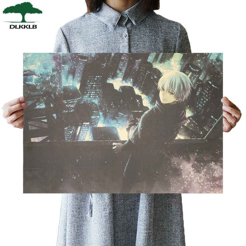 DLKKLB Classic Animation Tokyo Ghoul Movie Poster Vintage Retro Kraft Paper Wall Sticker 51.5x36cm Dorm Room Decoration Painting