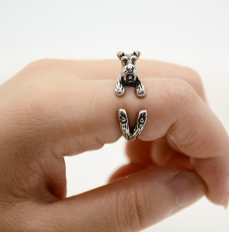 1Piece Vintage Brass Knuckle Miniature Schnauzer Dog Anel Ring Animal Anillos Rings For Women Men Gift Box Packed Black friday