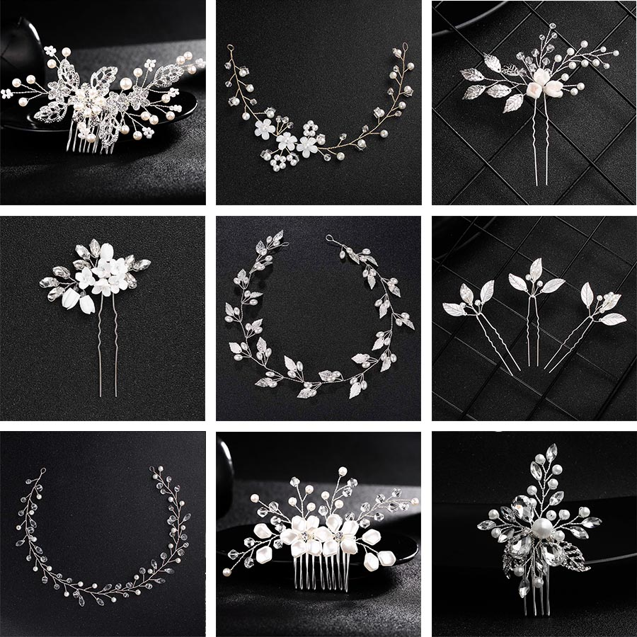 QYY Fashion Pearls Hairpins <font><b>Hair</b></font> <font><b>Accessory</b></font> Jewelry Silver Bridal <font><b>Hair</b></font> Pins and Clips <font><b>Wedding</b></font> <font><b>Headpieces</b></font> <font><b>for</b></font> Women image