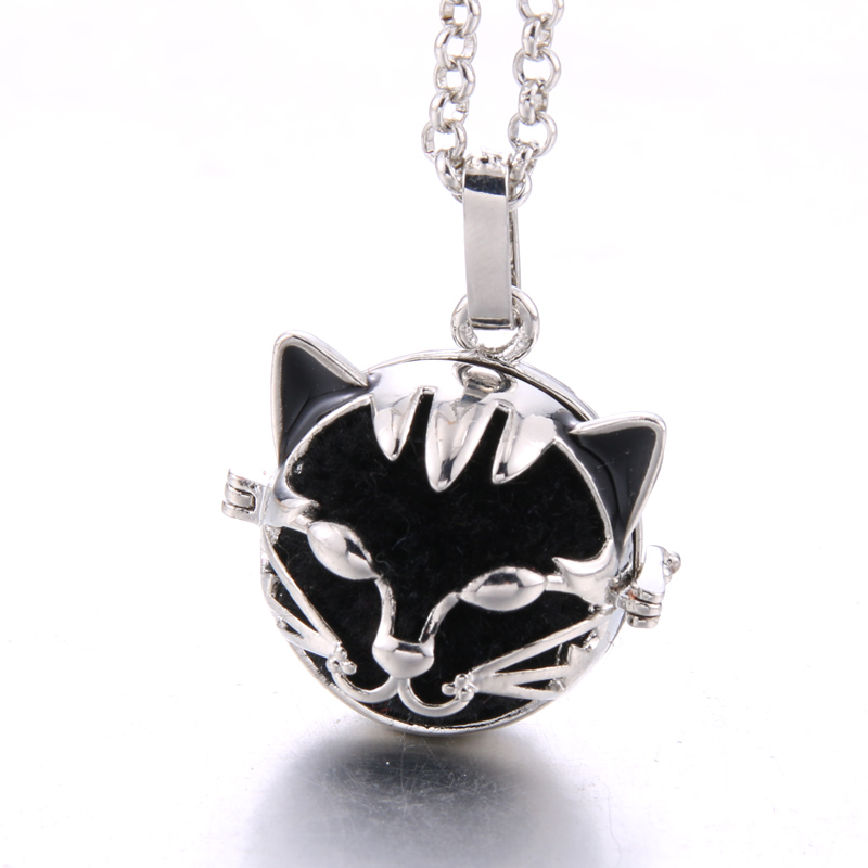 Cute cat Lava stone Aromatherapy Cage Pendant Essential Oil Aroma Volcanic stone Diffuser Aromatherapy Cage Necklace