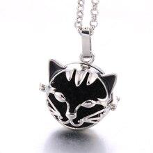 Silver Cute cat Lava stone Aromatherapy Cage Pendant Essential Oil Aroma Volcanic Diffuser Necklace