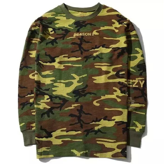 High quality top version gold yeezy season 2 full camo crewneck long high quality top version gold yeezy season 2 full camo crewneck long sleeve t shirt stopboris Gallery