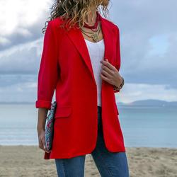Черный красный синий деловой Тонкий костюм женский элегантный рабочий тонкий пальто 2018 осень мода лацкан Блейзер Пальто с длинным рукавом