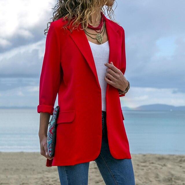 Black Red Blue Business Slim Suit Women Elegant Working Slim Coat 2018 Autumn Fashion Lapel Blazer Coat Long Sleeve Splice Suits