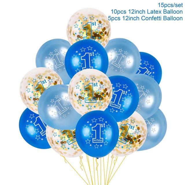 QIFU 15pcs 1st 2nd Birthday Balloon Air One 1 2 Year Old First
