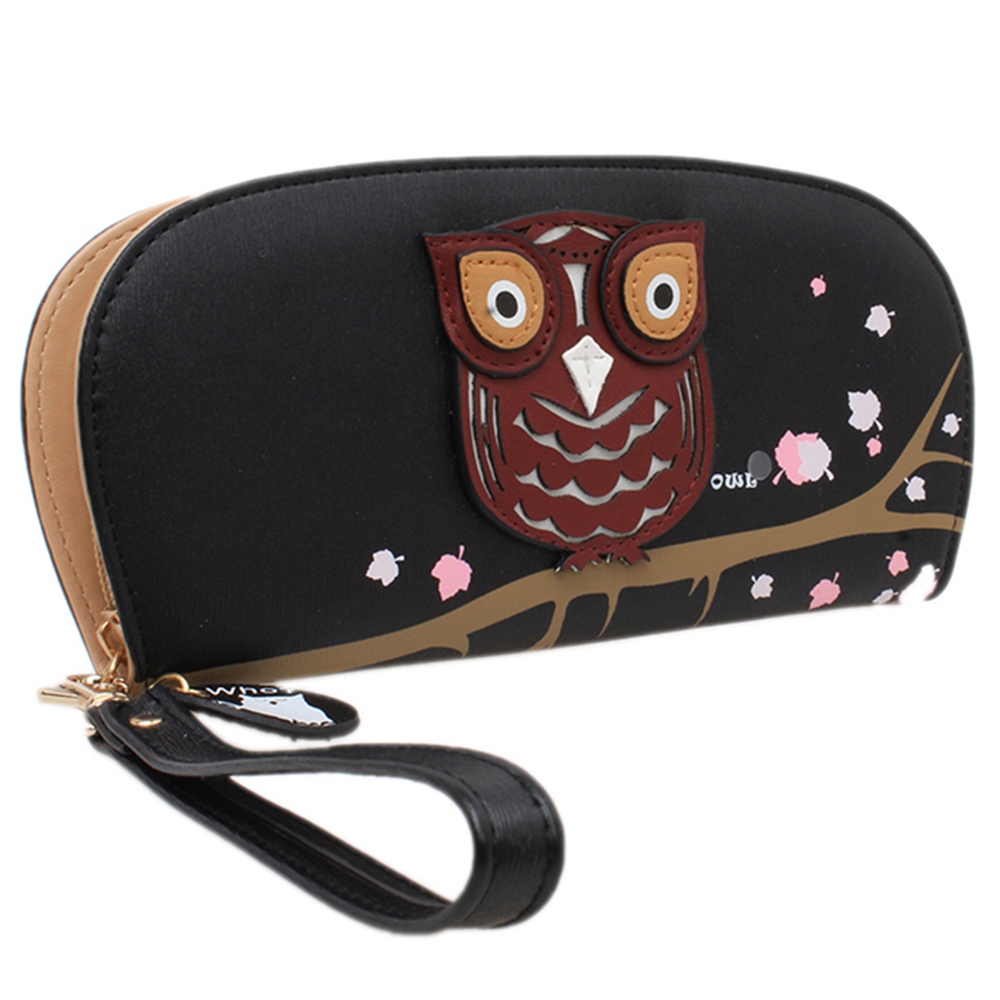 2016 Women's Cute Owl Wallet Clutch Zipper Purse Bags Handbags Floral Card  Holders Stereoscopic Printing Rounded