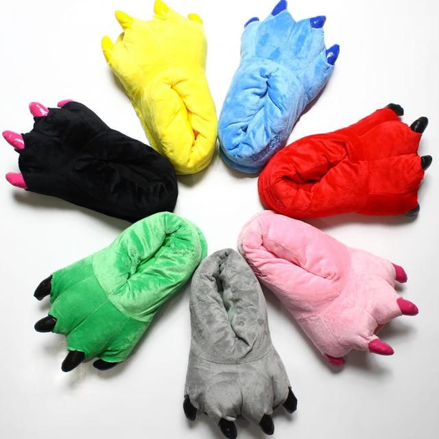 Child Kids Winter Warm Dinosaur Stitch Fluffy Floor Claw Slippers Soft Minions Coral Velvet Plush Home Slipper Children Shoes
