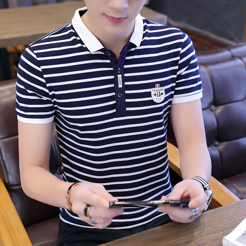 Men's Striped Polo Shirt 2019 Summer Short Sleeve Tee Shirts Smart Casual Polo Shirts Men Fashion Breathable Tops Slim Fit 3XL
