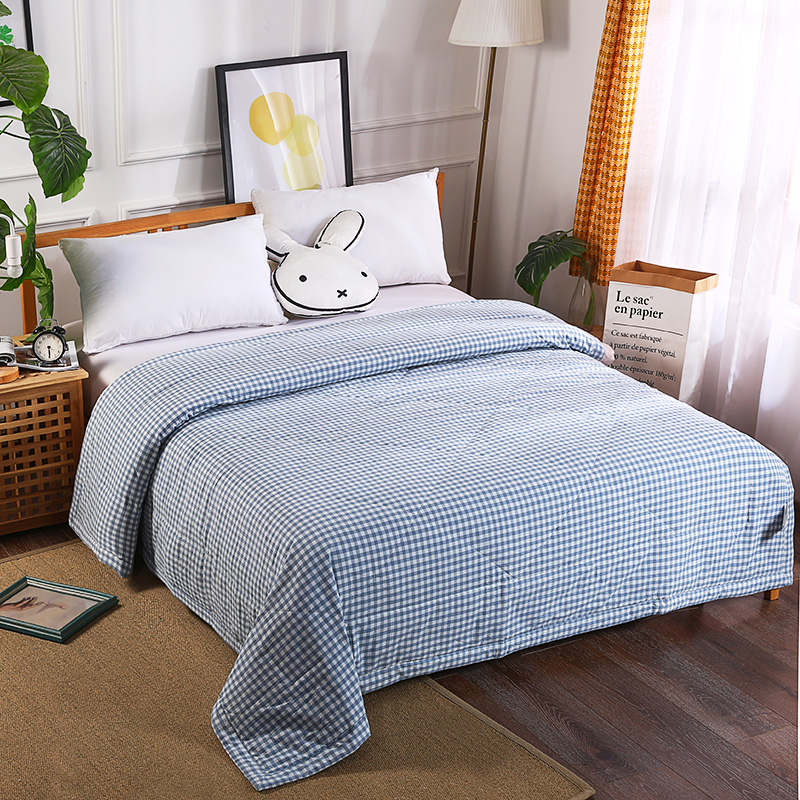 Luxury Washing cotton Summer Quilts twin single queen Blankets plaid Bed Cover Children Adults duvet white