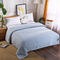 Luxury Washing cotton Summer Quilts twin single queen Blankets plaid Bed Cover Children Adults duvet white blue soft Comforters Quilts Home & Garden -