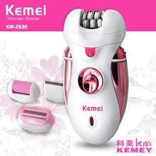 Kemei 4 In 1 Electric Hair Removal Epilator Set Rechareable Shaver Exfoliating Trimmer Female Foot Care Tool For Women KM-2530
