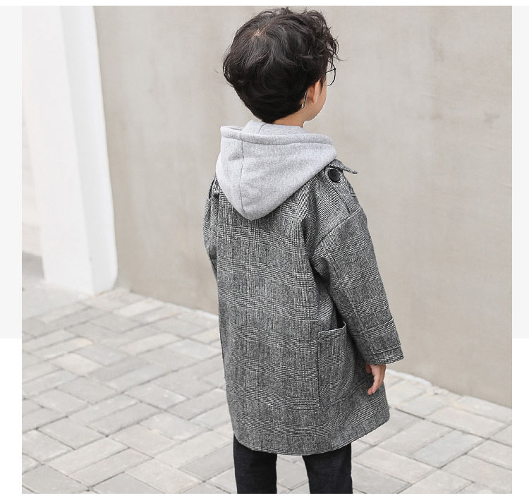 gray plaid pockets long jackets for baby boys fashion trench coats clothing kids autumn children outerwear tops clothes new 2018 (6)