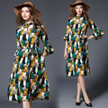 Fashion 2017 Fress Shipping  New Spring Summer  Trumpet Sleeves Long Hollow Loose Dress Abstract Printing Real Temperament