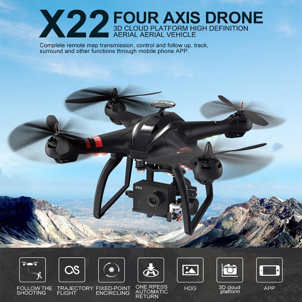 BAYANGTOYS X22 Brushless Double GPS WIFI FPV avec 3-Axe Cardan 1080 p Caméra RC Drone Quadcopter RTF