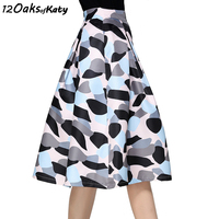 12 OAKS OF KATY Europe And America Women Abstract Graffiti Light Camouflage Print Flared Skirt High