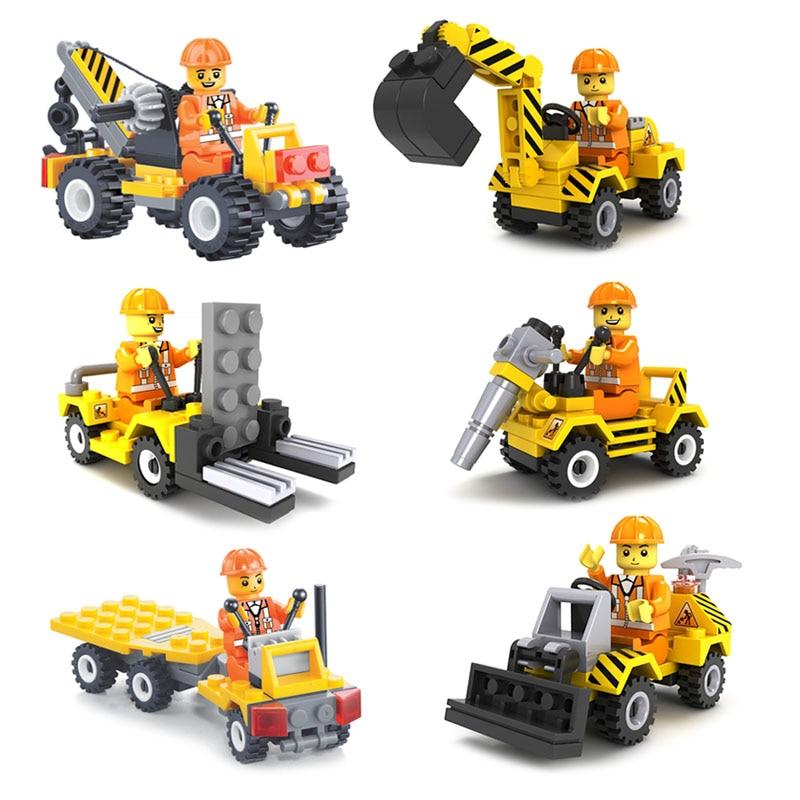 6pcs Construction Team Bulldozer Excavator Forklift Drill Flatbed