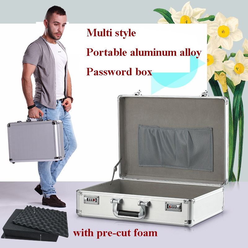 Aluminum alloy portable Password box tool case Safe Deposit Box Instrument box Document storag
