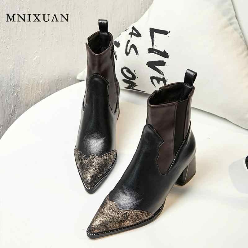 MNIXUAN handmade หนังฤดูใบไม้ผลิฤดูใบไม้ร่วงสแควร์รองเท้าส้นสูงข้อเท้ารองเท้าผู้หญิงฤดูหนาวสั้นรองเท้า plus ขนาด 10