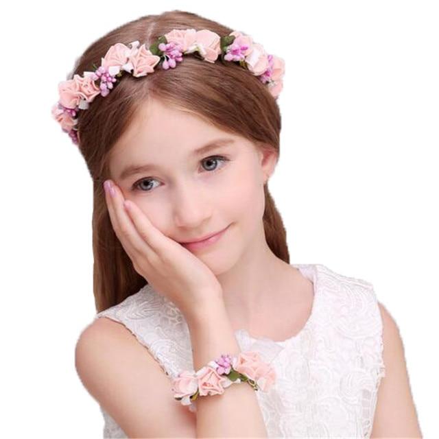 boho floral wrist flower girl garland headwear crown of flowers for hair  wreath headband accessories headpieces wedding tiara 4ff2c744802