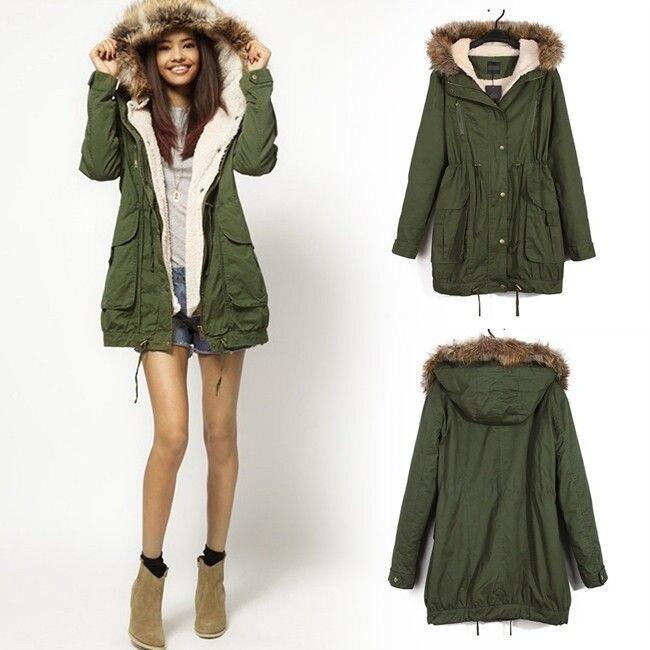 Hot Sale Winter Women Warm Hooded Military Green Faux Fur Long