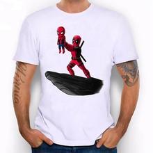 лучшая цена Round neck T-shirt Marvel Spider-man men's T-shirt cute happy T-shirt men's summer fitness sports casual T-shirt hot New 2019