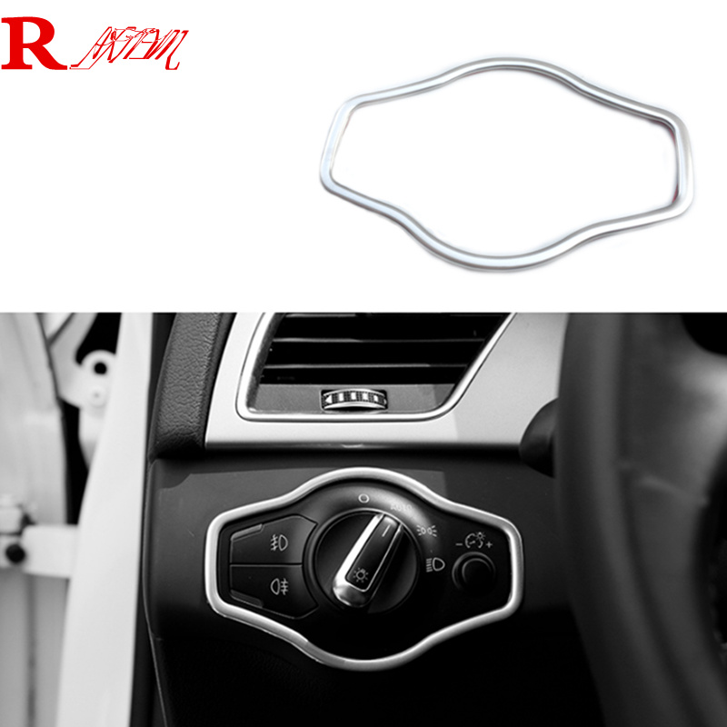 For Audi A4 Q5 A5 2010-2015 Car headlight switch panel decorative frame cover trim stainless steel strip interior molding