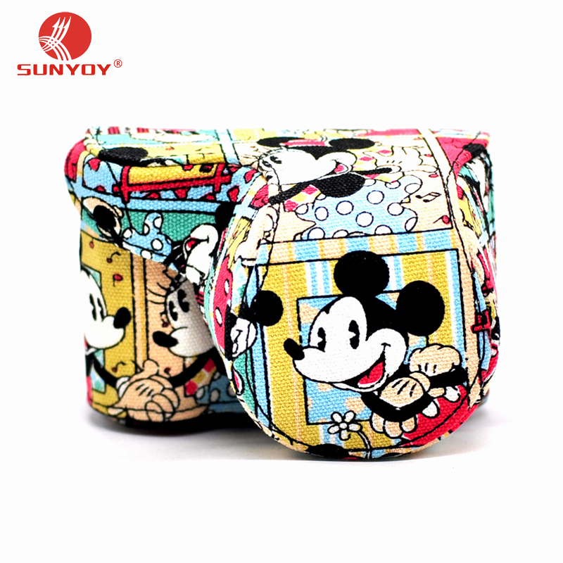 Mickey Pattern Thin canvas Camera Case Bag For Sony A5000 A5100 A6000 A6300 with 16-50mm lens,Free Shipping